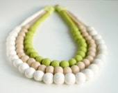 Big bold statement necklace -felt necklace - felt neckpiece in lime green, beige and white- felt jewelry and accessories