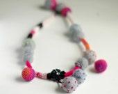 Bold statement necklace - felt and fiber funky summer necklace
