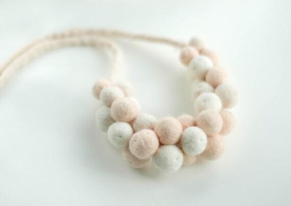 Dusty pink, beige and white felt beaded necklace, felt jewellery