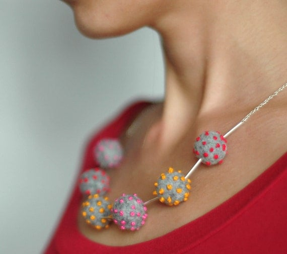 Polka dot beaded necklace - playful felted necklace - modern sterling silver chain necklace