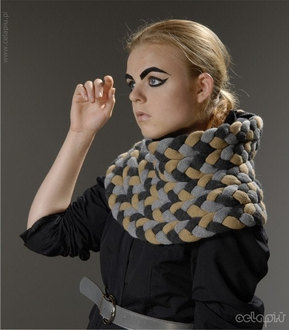 SALE - 35% OFF - Braided Cowl in Pebble Mix