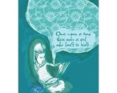 Once Upon a Time There was a Girl Who Loved to Read ... 5x7 limited edition print by daily ode ... special price til Feb. 1st