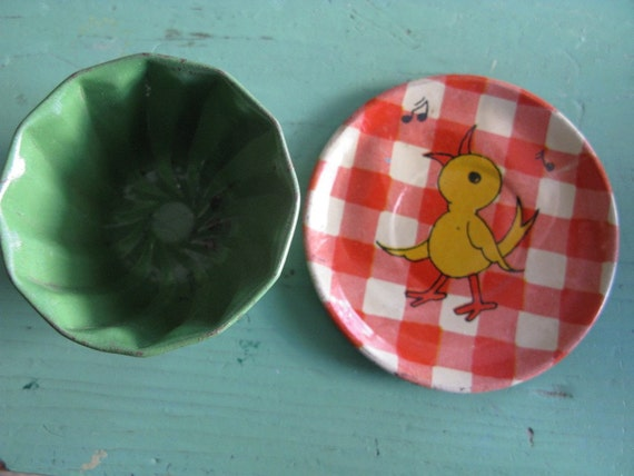 Two Vintage Metal Childs Dishes