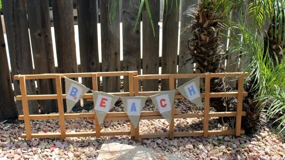 "Burlap and Canvas ""BEACH"" Banner Flag Bunting"