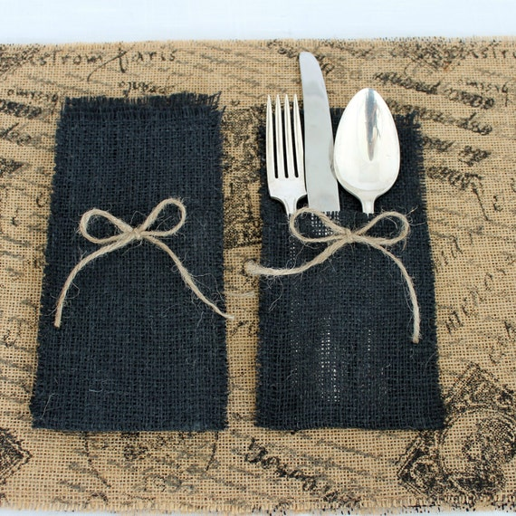 Burlap Placemat and Silverware Holder Set of 4