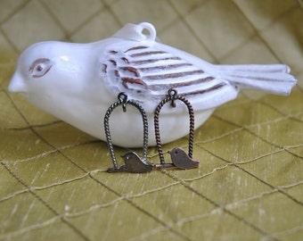 Gunmetal and Antique Copper Bird in cage - Quantity 12