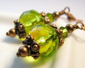 Green Magic - Glass and Antiqued Copper Earrings