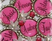 SET OF 6 PERSONALIZED Hot Pink Bottle Cap Pendant Necklace Party Favors