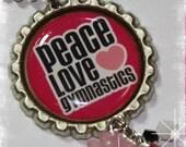 GYMNASTICS ROCKS  Bottle Cap Pendant Necklace