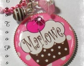 SWEET AS A CUPCAKE Personalized Bezel Set Pendant Necklace