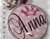 PERSONALIZED Princess Polka Dot Bezel Set Pendant Necklace