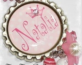 PERSONALIZED Polka Dotted Princess Crown Bottle Cap Pendant Necklace