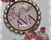 Personalized BIG SISTER Polka Bottle Cap Pendant Necklace