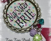 Personalized BIG SISTER Polka Bottle Cap Pendant Necklace