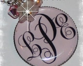 Darling Pink  MONOGRAM Bezel Pendant Necklace