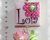 PERSONALIZED Light Pink Daisy Scrabble Tile Pendant Necklace