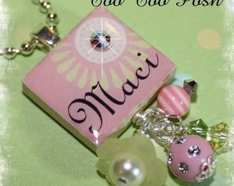 PERSONALIZED Pink Daisy Scrabble Tile Pendant Necklace