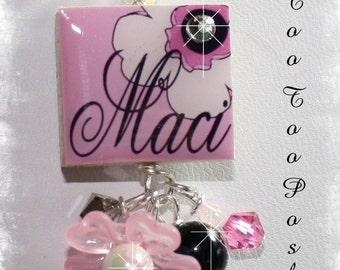 PERSONALIZED Pink Poppy Scrabble Tile Pendant Necklace