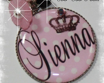 PERSONALIZED Couture Crown Polka Dot Bezel Pendant Necklace