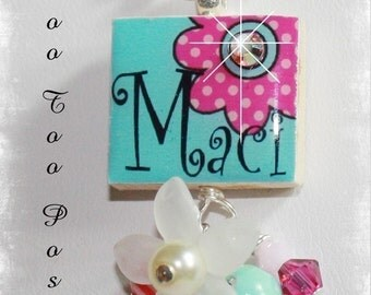 PERSONALIZED Turquoise and Pink Daisy Scrabble Tile Pendant Necklace