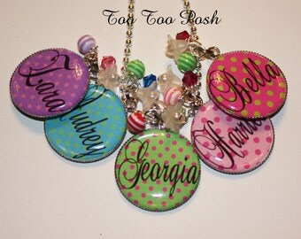 YOU CHOOSE COLOR Personalized Polka Dot Bezel Set Pendant Necklace