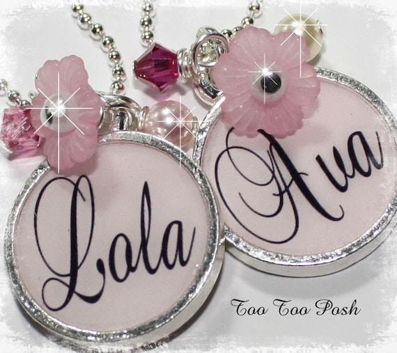 DARLING Light Pink  Personalized Bezel Set Pendant Necklace