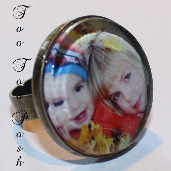 Custom Glass Bauble PHOTO Ring