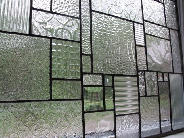 Clear textured glass and bevels 21x18 collage glass panel for Textured glass panels