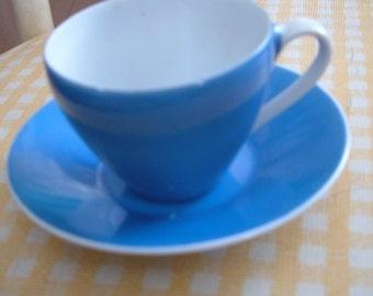 Blue Vintage Teacup with Saucer