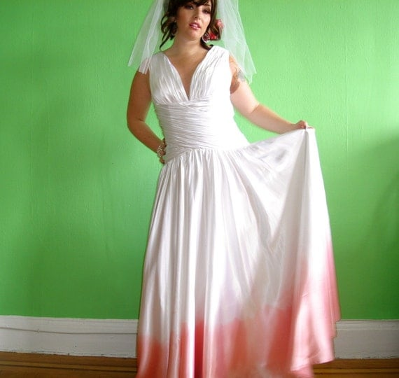 Ombre Wedding Dress: Hand-dyed Ombre Pink Wedding Dress