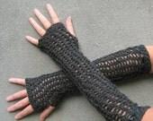 long fingerless gloves/ charcoal gray crochet