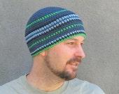mens cotton beanie/ blue denim green crochet
