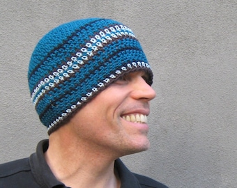 mens crochet beanie/ deep ocean blue