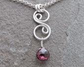 Tamsin Swirly Sterling Silver Necklace Red Garnet