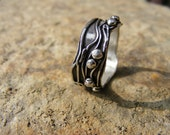 Organic Sterling Silver Textured Wedding Ring. Waters Edge
