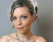 Weddings Accessories Bridal Birdcage Veil with Feather Spray Headpiece - bridal hair comb, feather, bridal fascinator
