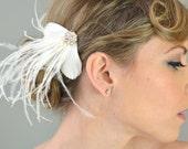 Wedding Accessory Bridal Hair, Haylie Feather Headpiece - bridal headpiece, feather fascinator, crystals, rhinestones, white