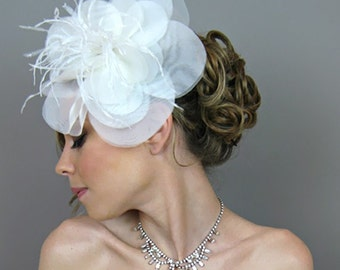 Bridal Hair Flowers, Wedding Hair Accessories, Bridal Oversize Hair Flowers - bridal headband, bridal hairband, cocktail hat, racing race