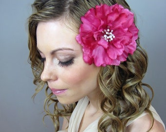 Weddings Bridal Accessories Hair Comb, Hot Pink Peony Flower Headpiece - hot pink, fuchsia, white, baby pink