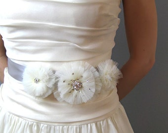 Wedding Accessories Bridal Sash, Tulle Flower Rhinestone Bridal Ribbon Belt - black, white, ivory, pink, blush, bridal belt