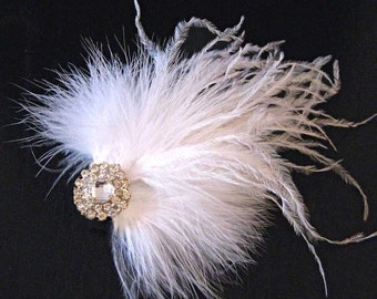Weddings Accessories Bridal Hair Comb, Airy Feather Headpiece - bridal feather fascinator, feather clip, white, black