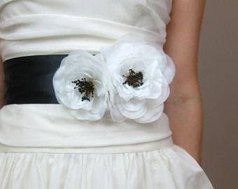 Wedding Bridal Sash, Duo Poppies - accessory, bridal belt, black and white, 3 inch wide ribbon belt, white, Ivory