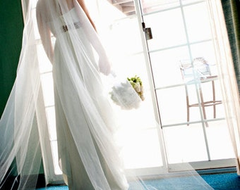 Single Layer Cathedral Length Veil - wedding, white, ivory,  soft white, clean cut edge veil