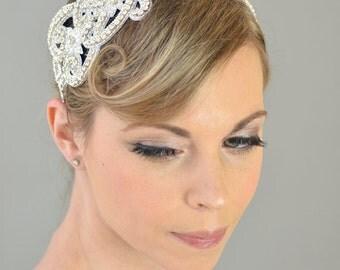 Wedding Bridal Headband, Art Nouveau - tiara, headpiece, rhinestone, crystal, white, silver