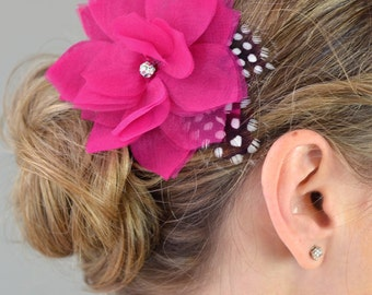 Weddings Bridal Accessories Hair Comb, Airy Flower Headpiece with Dotted Feathers - chiffon, organza, flower headpiece, fuschia