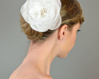 Weddings Accessories Bridal Hair Comb, Garden Rose Oversize Flower Headpiece  - white, ivory, somthing blue, pink, lavender, rhinestone, big