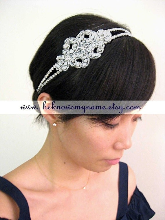 Wedding Accessory Bridal Hair, One of a Kind Headband - rhinestone, crystal, white, ivory, black
