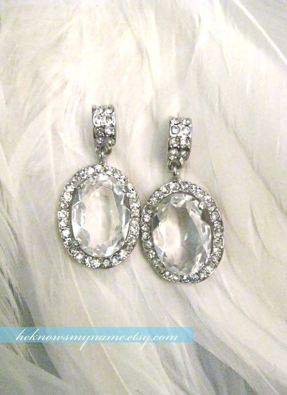Wedding Jewelry Bridal Earrings, Neo Mirror (Free U.S. Shipping) - crystal, rhinestone, art deco, art nouveau, chandelier earrings, dangle