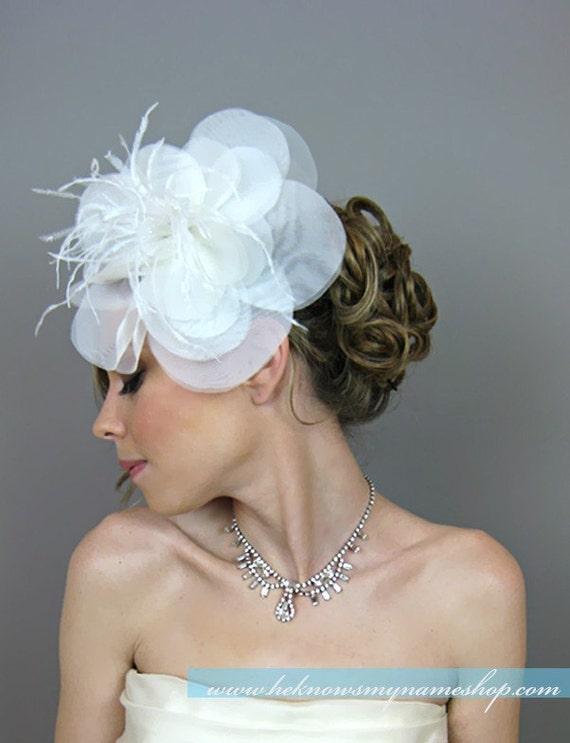 Bridal Hair Flowers, Wedding Hair Accessories, Bridal Oversize Hair Flowers - bridal headband, bridal hairband, cocktail hat, racing race