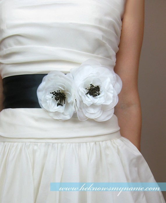 Wedding Bridal Sash, Duo Poppies - accessory, bridal belt, black and white, 3 inch wide ribbon belt, white, Ivory
